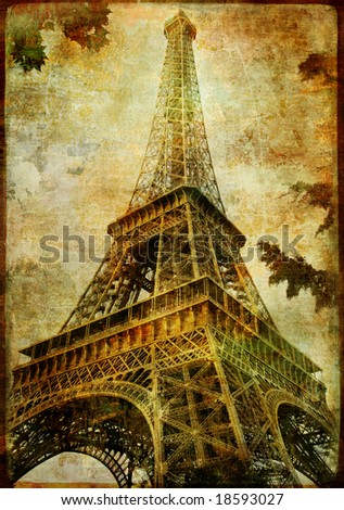 Eiffel tower - artistic toned picture in retro style - stock photo