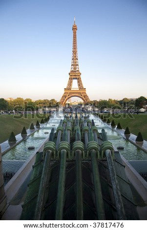 Eiffel Tower at dusk - stock photo