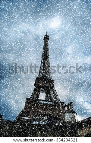 Eiffel tower at dusk, above clouds. viewd from seine - stock photo