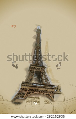 Eiffel tower at dusk, above clouds. viewd from Seine. Travel background illustration. Painting with watercolor and pencil. Brushed artwork. - stock photo