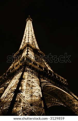 Eiffel Tower at Night - B&W