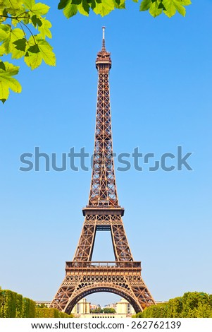 Eiffel Tower at summer sunny day, Paris - stock photo