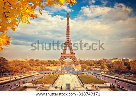 Eiffel Tower at summer sunny evening, Paris - stock photo