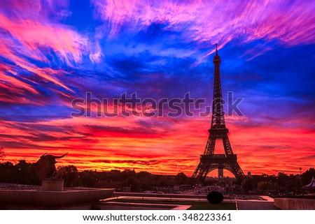Eiffel Tower At sunrise - stock photo