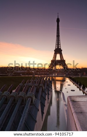 Eiffel tower at sunrise - stock photo