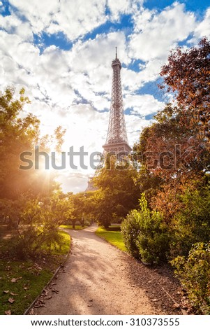 Eiffel tower at sunset. - stock photo