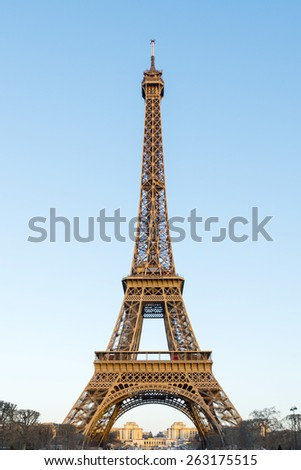 Eiffel Tower at sunset, Paris, France. Most visited city in Europe