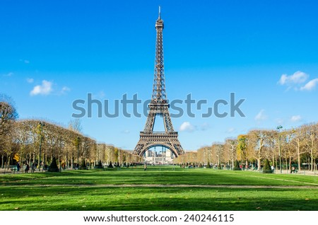 Eiffel Tower at the bright sky - stock photo