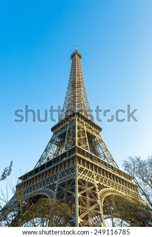 Eiffel Tower at winter time in Paris, France - stock photo