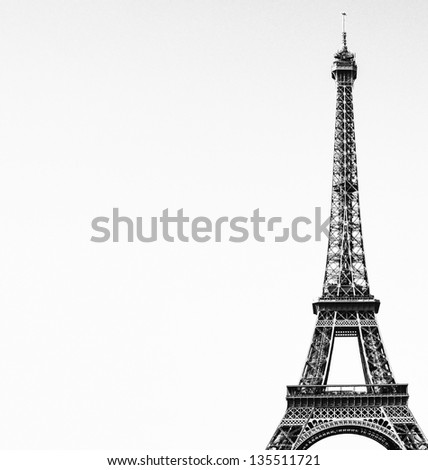 Eiffel tower black and white image - stock photo