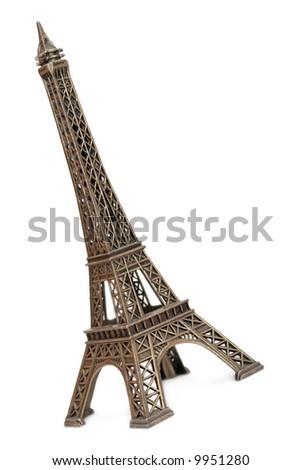Eiffel tower bronze souvenir isolated - stock photo