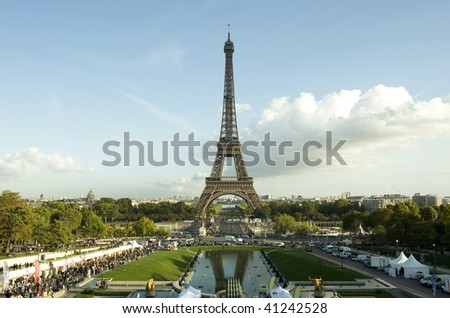 Eiffel Tower centered in landscape - stock photo