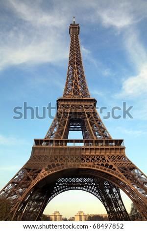 Eiffel Tower: Closeup shot of the Eiffel tower in Paris, France - stock photo