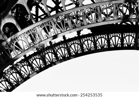 Eiffel Tower detail in black and white - stock photo