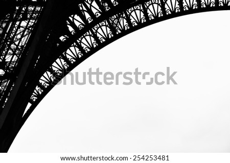 Eiffel Tower detail in Paris, France - stock photo