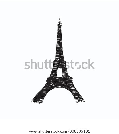 Eiffel Tower drawn in a simple sketch style - stock photo