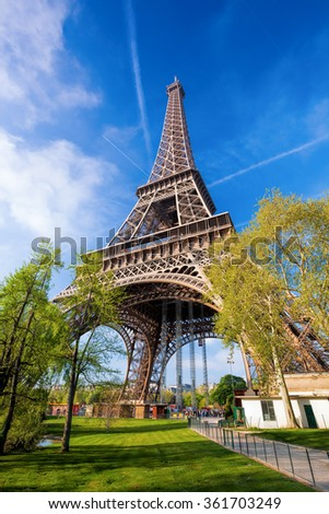 Eiffel Tower during spring time in Paris, France - stock photo