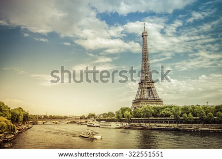 Eiffel Tower from low angle with Seine River,France - light leak