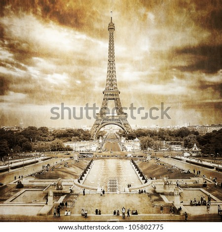 Eiffel tower from Trocadero monochrome vintage - stock photo