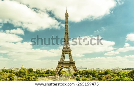 Eiffel Tower from Trocadero, Paris, France - stock photo
