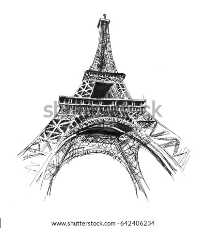 Eiffel tower hand drawing illustration gel stock illustration 642406234 shutterstock