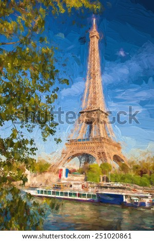 Eiffel Tower in Artwork style in Paris, France - stock photo