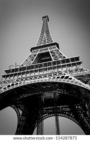Eiffel Tower in High Contrast Black & White