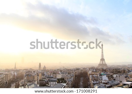 Eiffel tower in Paris at sunrise, panoramic view, cityscape
