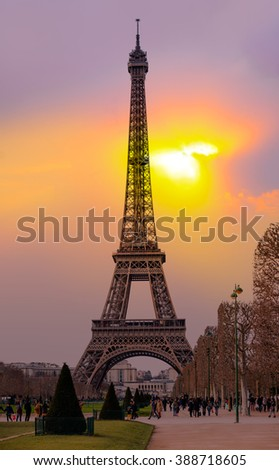Eiffel tower in Paris at sunset.