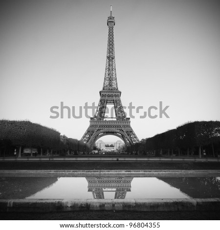 Eiffel Tower in Paris - black and white - stock photo