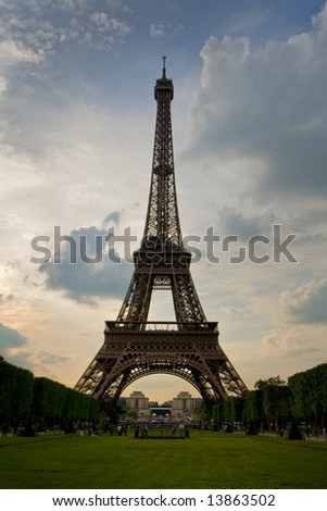 Eiffel tower in Paris by sunset