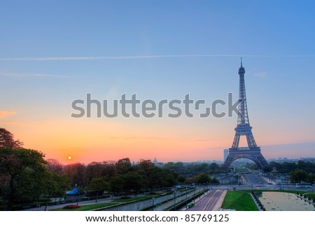Eiffel tower in Paris France - stock photo