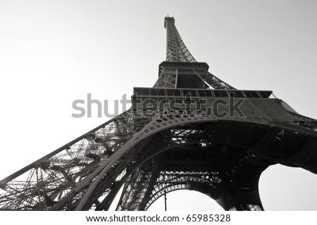 Eiffel tower in paris, France in black and white color - stock photo