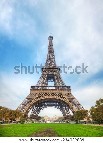 Eiffel tower in Paris, France in the morning