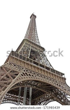 Eiffel tower in Paris France isolated on white background - Beautiful monument  symbol of Paris