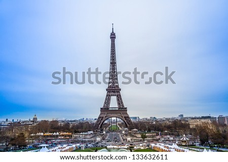 Eiffel Tower in Paris France on a beautiful sunny day