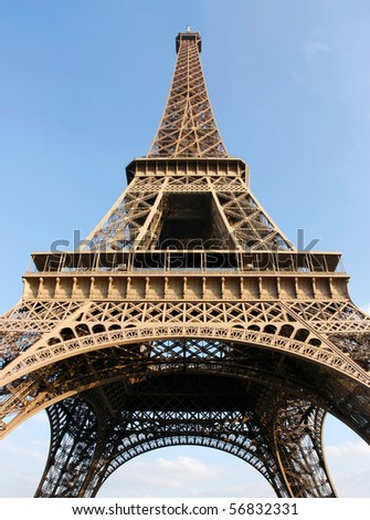 Eiffel Tower in Paris (France) on a beautiful sunny day - stock photo