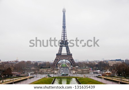 Eiffel Tower in Paris in the afternoon - stock photo
