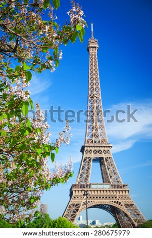 Eiffel Tower in Paris on a sunny summer day.