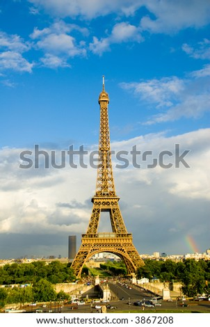 Eiffel Tower in Paris with a rainbow
