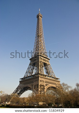 Eiffel tower in Paris with deep blue sky - stock photo