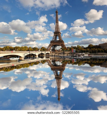Eiffel Tower in Paris with Seine, France - stock photo