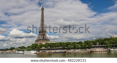 Eiffel Tower in Paris with Seine, France, Europe