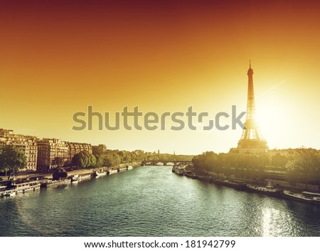 Eiffel tower in sunrise time  - stock photo