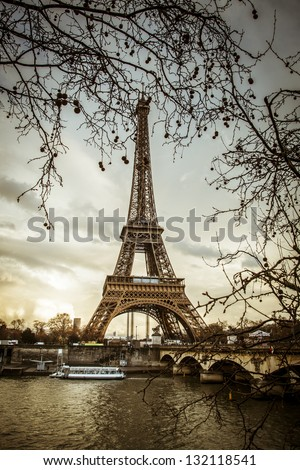 Eiffel tower in sunset Paris - stock photo