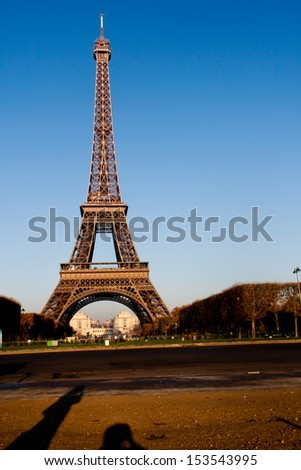 Eiffel Tower in the Morning in Paris France