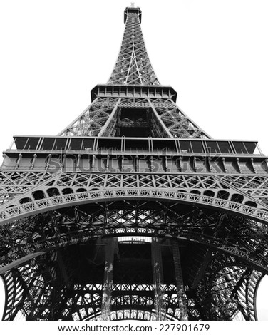Eiffel tower - isolated on white background - black and white