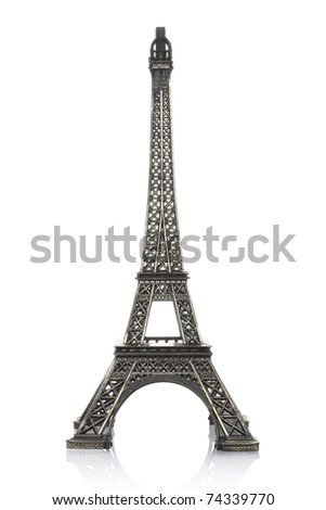 Eiffel tower isolated on white background, clipping path included - stock photo