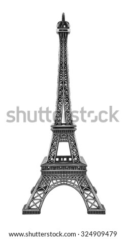 Eiffel tower isolated on white background. High-quality model.