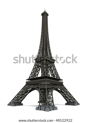 Eiffel tower isolated on white. Computer graphics - stock photo